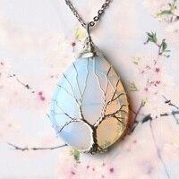 1PC naturalna róża kryształowa kwarcowy wisior drzewo życia kwarcowy kryształ modny naszyjnik para dekoracji DIY akcesoria do prezentów