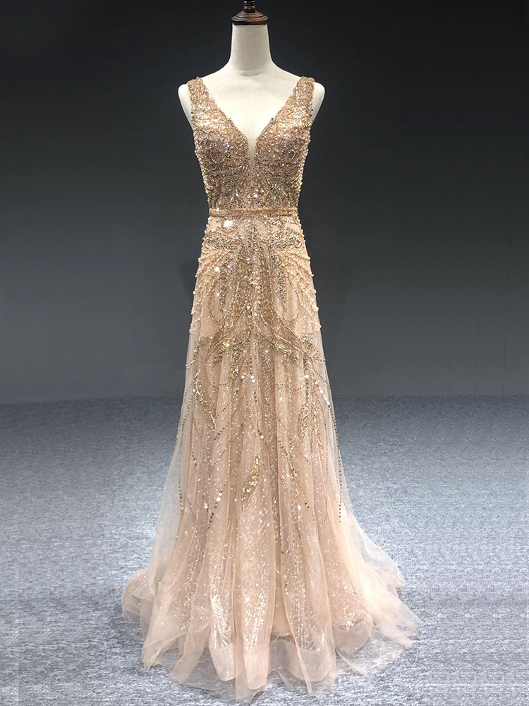 Fromal-Gown Evening-Dresses Serene Hill Pearls Dubai Gold Luxury Crystal A-Line Sleeveless