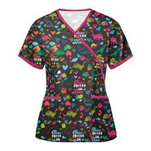 Nurse Uniform Women Blouse Female Worker Animal Print Pattern V-neck Pocket Short Sleeve Tops T-shirts Care Breathable Uniform