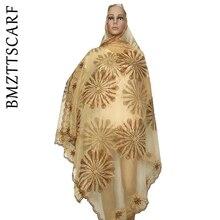 Африканская Женская шаль мусульманская вышивка шарф из тюли хиджаб шарф мусульманский шарф больших размеров для шали BM562