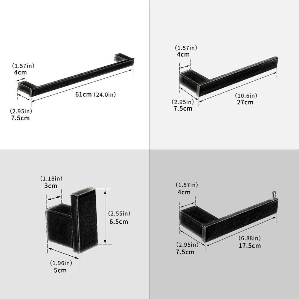 Ensemble d'accessoires de salle de bain noir mat | En acier inoxydable, porte-anneau porte-serviette mural, porte-serviette porte-papier chromé
