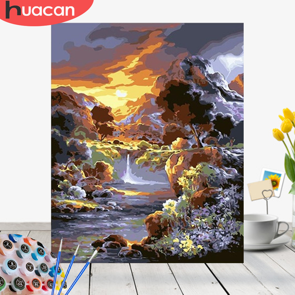 HUACAN Oil Painting By Numbers Landscape Acrylic Drawing Canvas Picture For Adult Wall Art DIY Home Decor