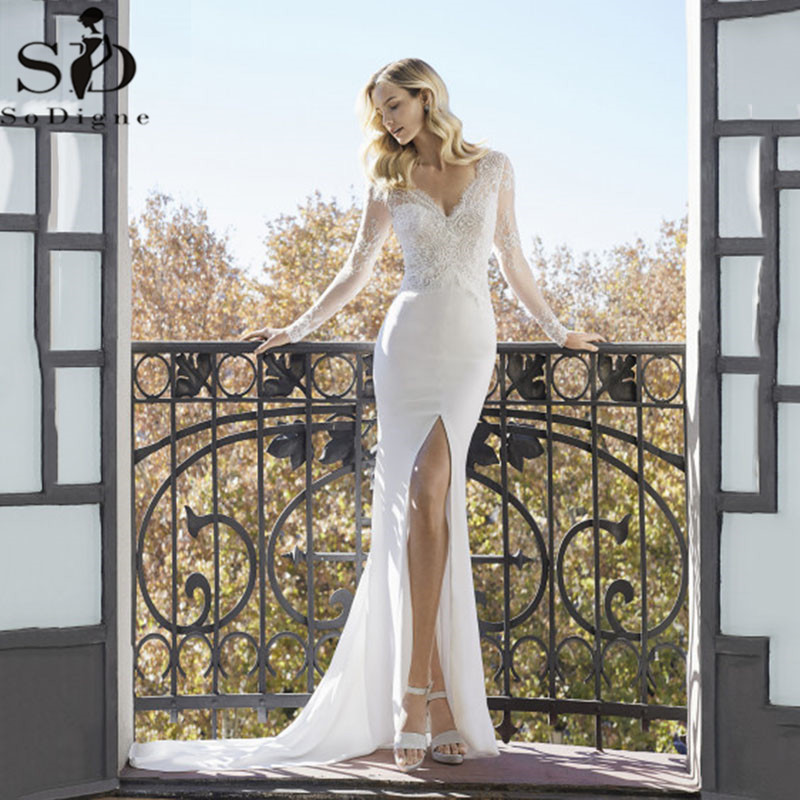 Sexy High Slits Mermaid Wedding Dresses V-neck Long Sleeve Lace Appliqued Bridal Gowns Dubai Boho Wedding Gown Vestido De Noiva