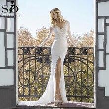 Sexy High Slits Mermaid Wedding Dresses V neck Long Sleeve Lace Appliqued Bridal Gowns Dubai Boho Wedding Gown vestido de noiva