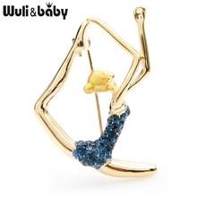 Wuli&baby Blue Purple Rhinestone Dancer Brooches Women Yoga Figure Sports Casual Party Brooch Pins Gifts