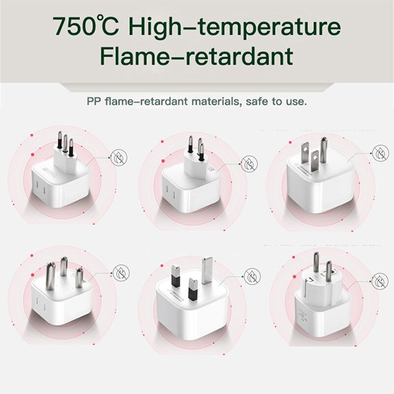 CCC Plug Adapter US UK EU IT CH ZA Plug To CN AU Travel Charger Converter Power Socket Plug Flame Retardant 250V MAX 10A 2500W