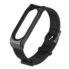 wristband Replacement For Xiaomi Mi Band 3/4 universal silicone strap with breathable metal case watch 1sh