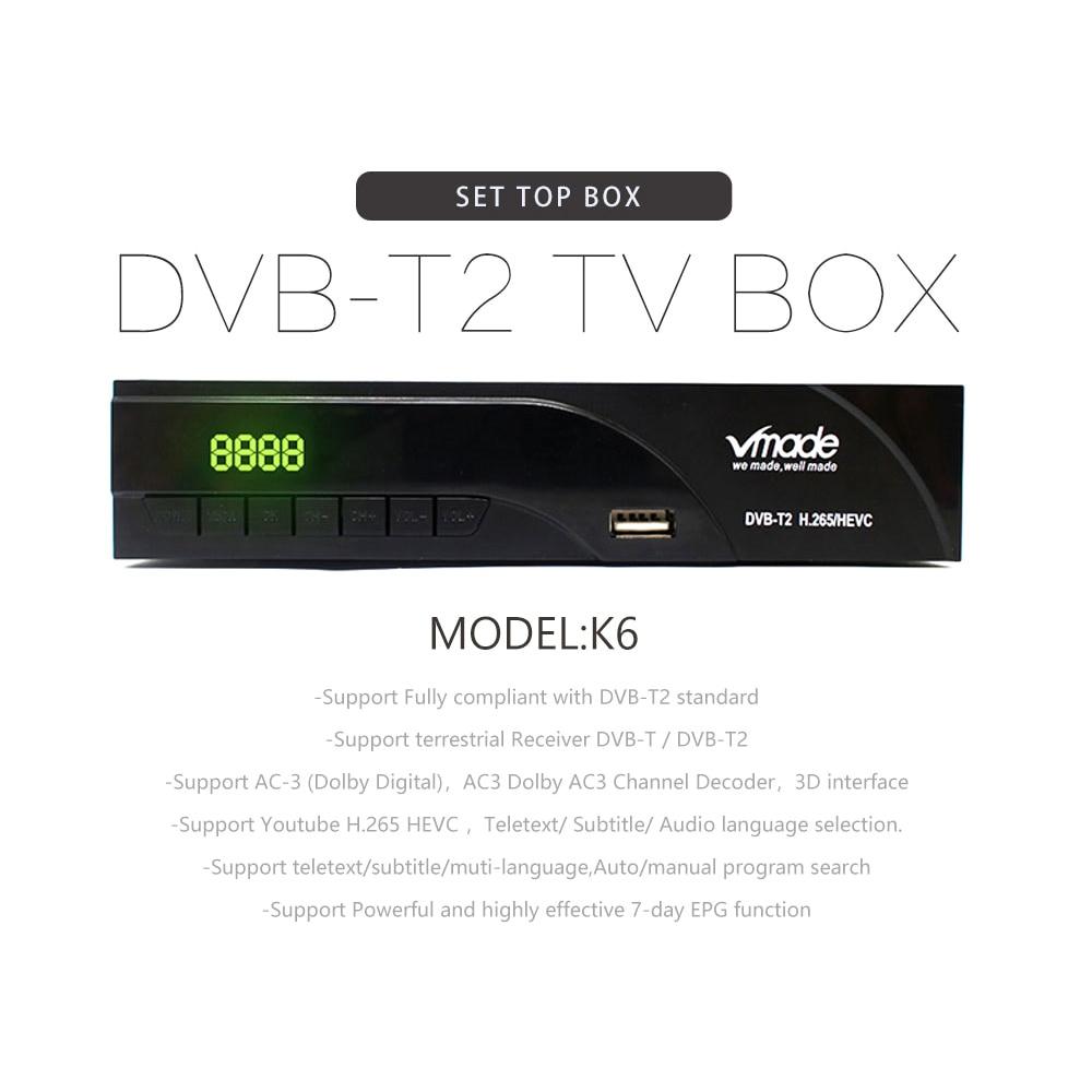 Vmade 2019 новейший DVB-T/DVB-T2 встроенный RJ45 H.265/HEVC HD цифровой эфирный приемник Поддержка Youtube Dolby AC3 DVB tv Box