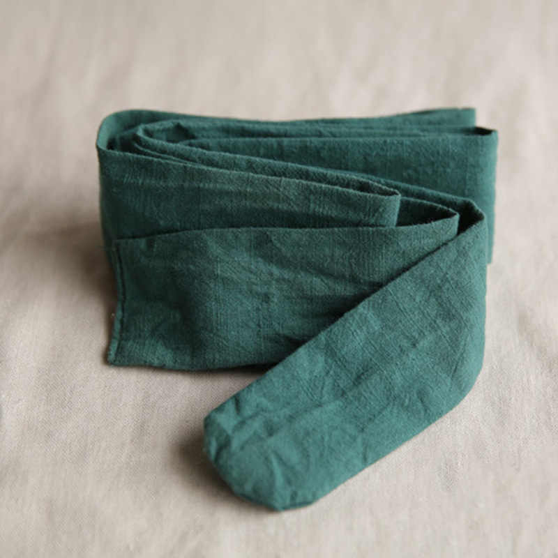 Johnature pamuk keten bel kemerleri kadınlar için katı renk Vintage bandaj