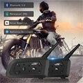 V6 беспроводная гарнитура для шлема  2 шт.  1200 м  Bluetooth  для 6 всадников  водонепроницаемая  мотоциклетная  внутренняя связь  Freehand  домофон для шл...