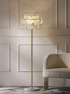 Image 2 - נורדי יוקרה LED רצפת מנורות נחושת קריסטל סלון בית תאורת חדר שינה וילה שיש אנכי אורות