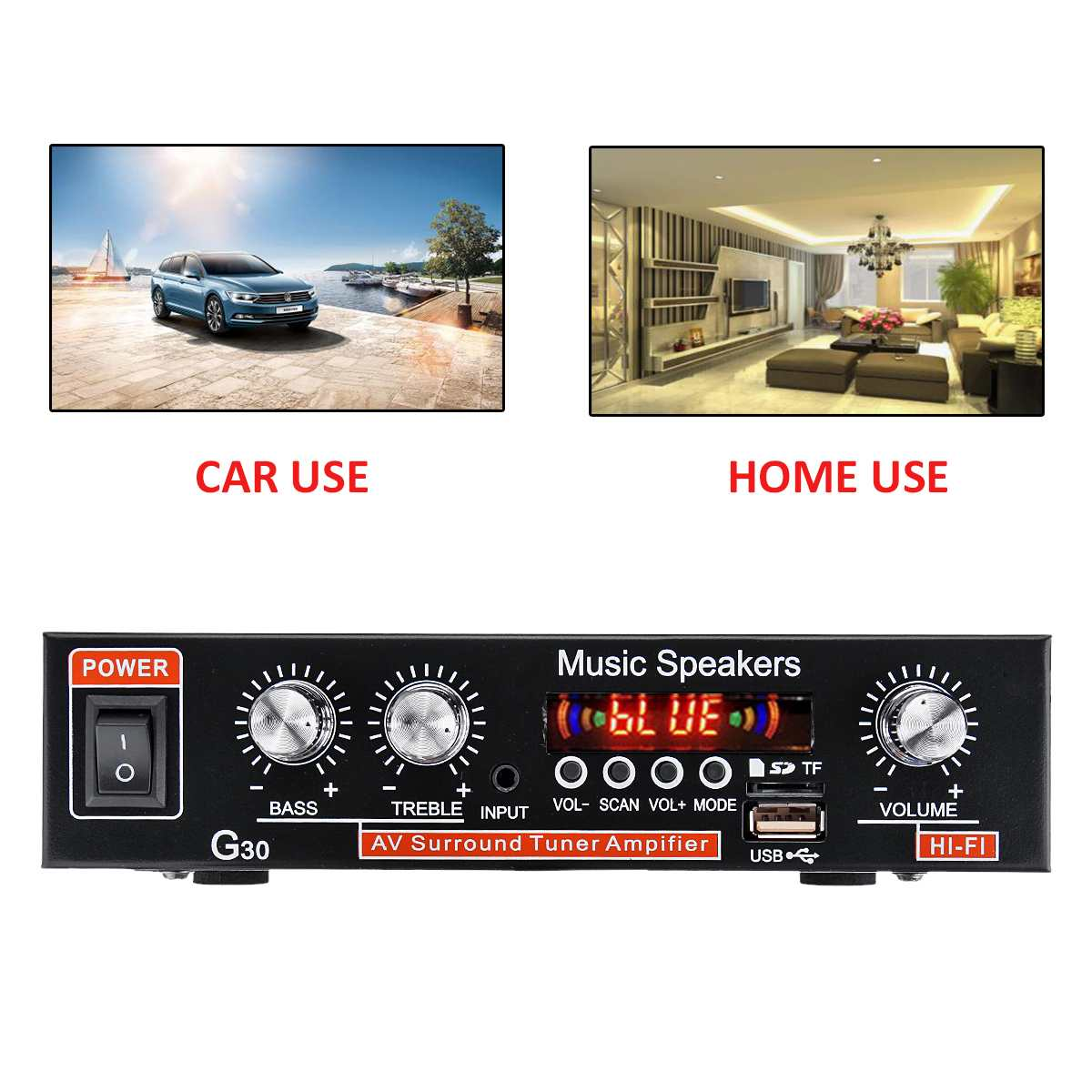 12V/220V 2CH bluetooth HiFi Stereo Amplifier Home Theater Amplificador Car Audio Amplifiers Digital Subwoofer Amplifier System