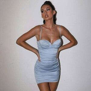 Image 3 - Justchicc Pleated Sexy Bodycon Dress Women Strapless Zipper V Neck Backless Bodycon Mini Dress Spaghetti Strap Party Club Dress