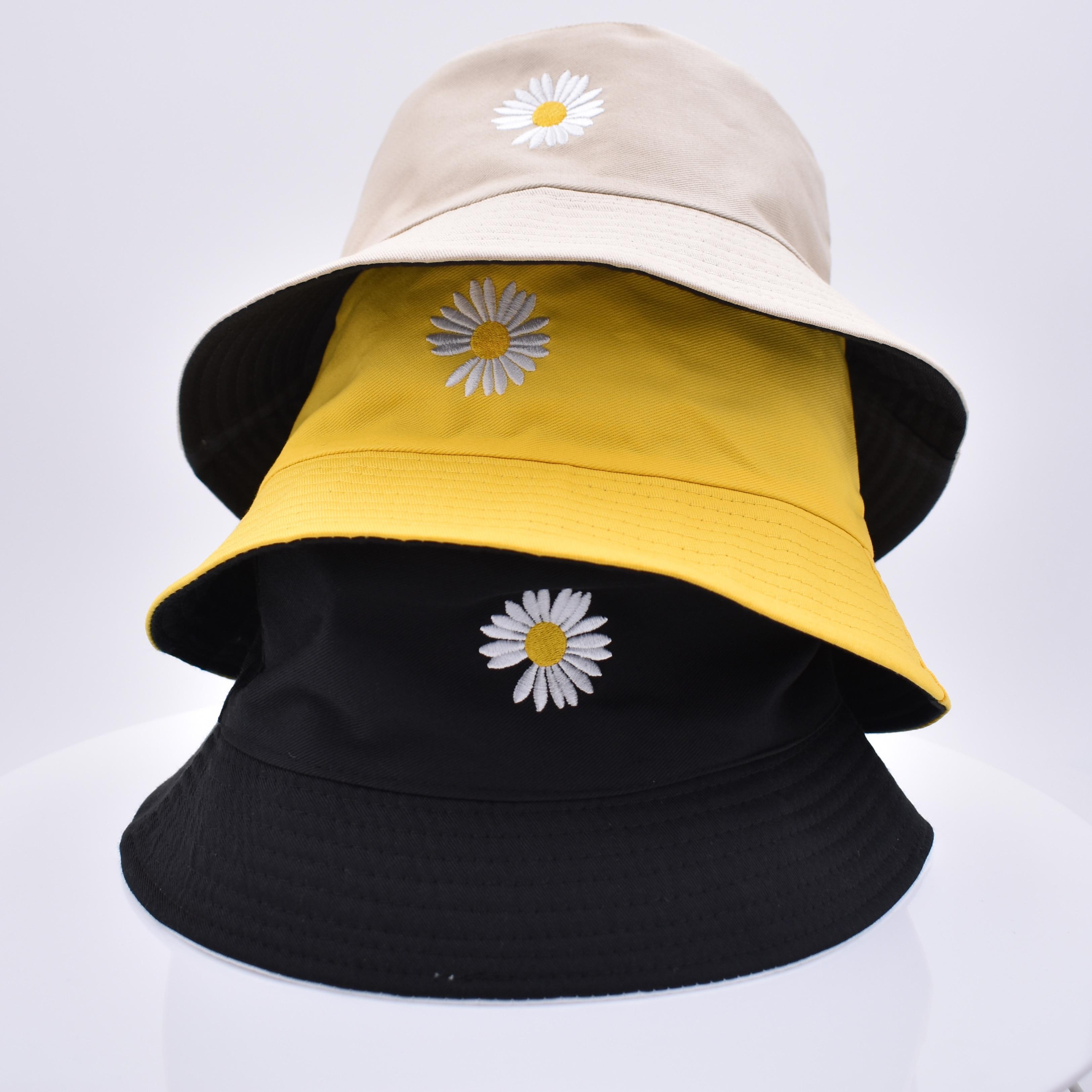 Summer  Daisies Bucket Hat Women Men Cotton  Fashion Sad Boy Cap Girls Double-Sided Daisy Bob Sun Femme Floral Panama Hat