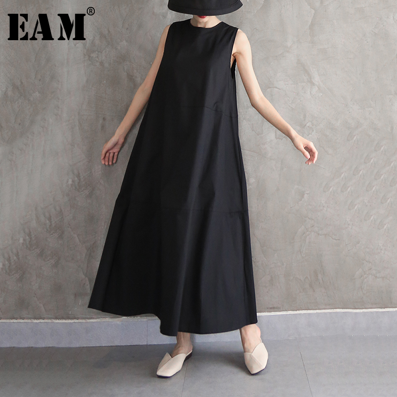[EAM] Women Black Brief Split Joint Long Dress New Round Neck Sleeveless Loose Fit Fashion Tide Spring Autumn 2020 1N570