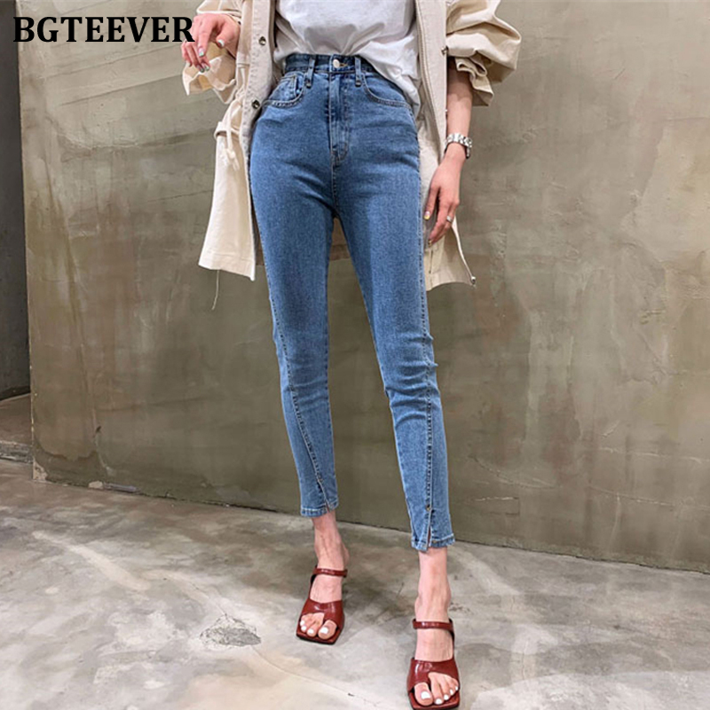 BGTEEVER Chic High Waist Side Split Women Jeans Pants Stretchable Skinny Female Jeans 2020 Summer Women Denim Trousers