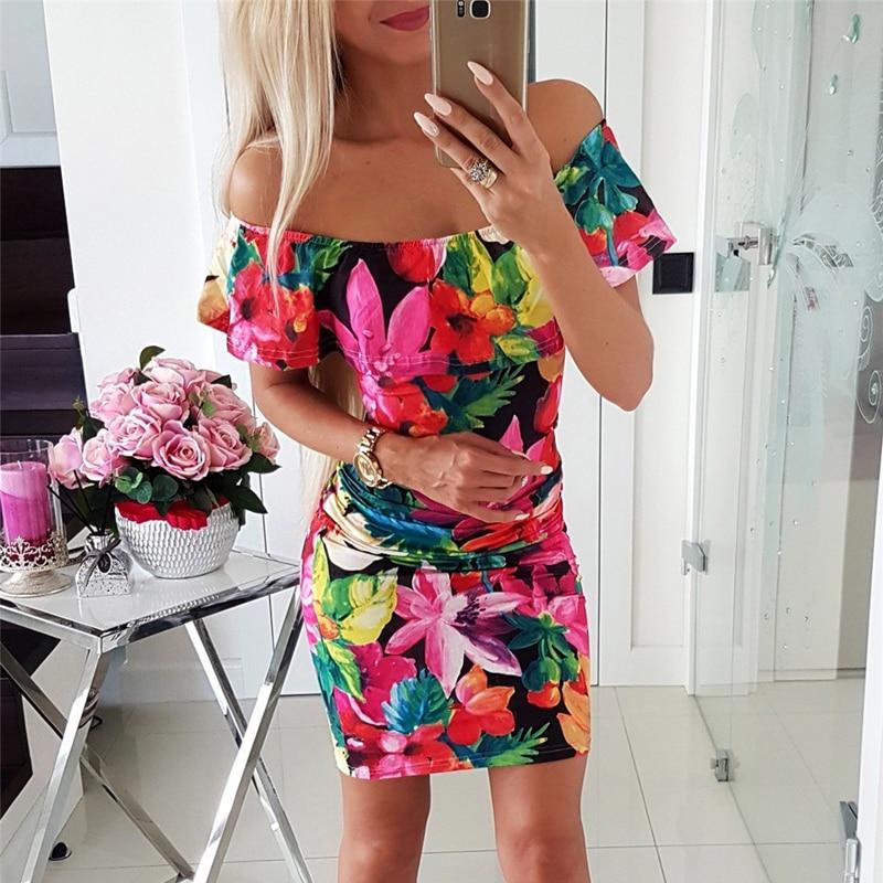 Women Bodycon Dress Patchwork Design Off Shoulder Short Sleeve Flower Print Mini Dress Lady Summer Slim Party Streetwear Dress