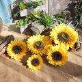 Artificial Sunflower Heads Silk Flower Faux Floral Yellow Gerber Daisies for Wedding Table Centerpieces Home Kitchen Wreath