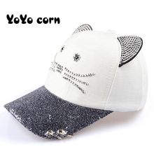 YOYOCORN Womens Cute Cat Ear Sequin Ring Baseball Cap Hat Hip Hop Flat gorras para hombre Elegant Summer Fitted