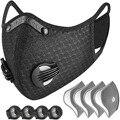 Пылезащитный респиратор с 4 фильтрами, многоразовый пылезащитный респиратор на половину лица с 4 выпускными клапанами, велосипедная маска, ...