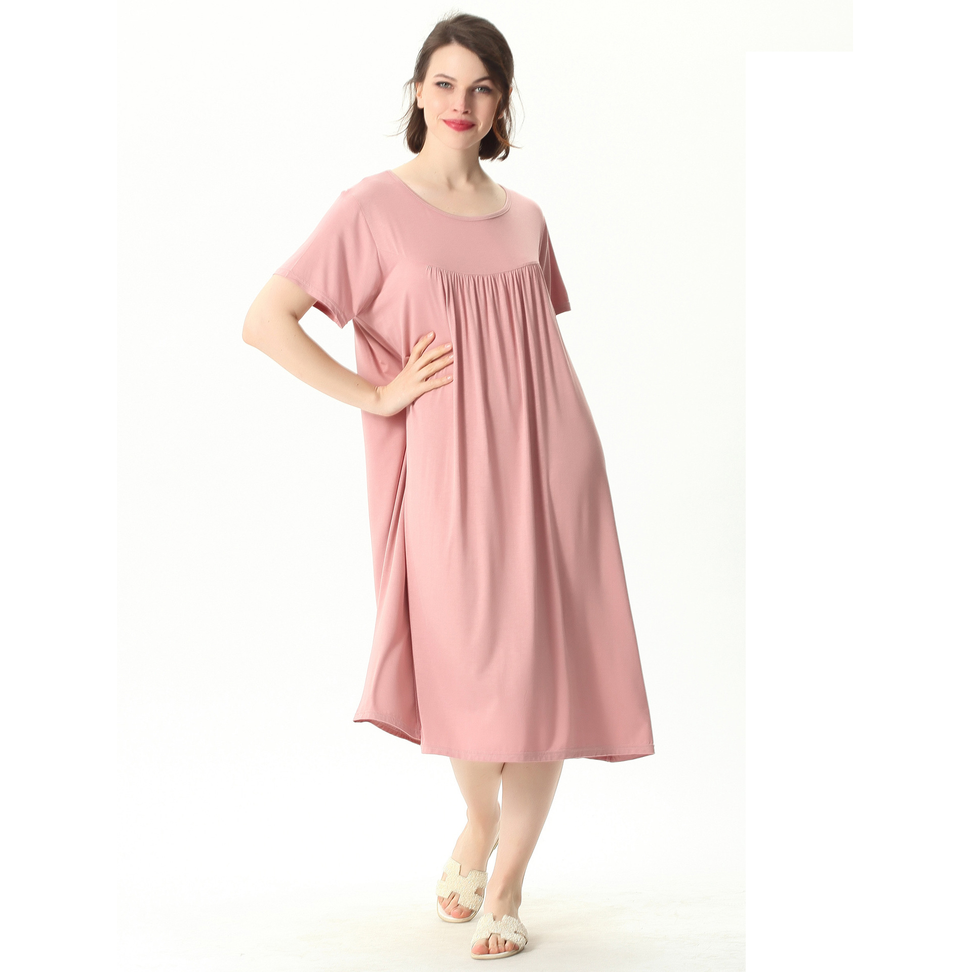 Plus Size 7XL Spring Summer Women Comfortable Nightdress Short Sleeve Nightshirt Home Dress Loose Solid Nightgowns