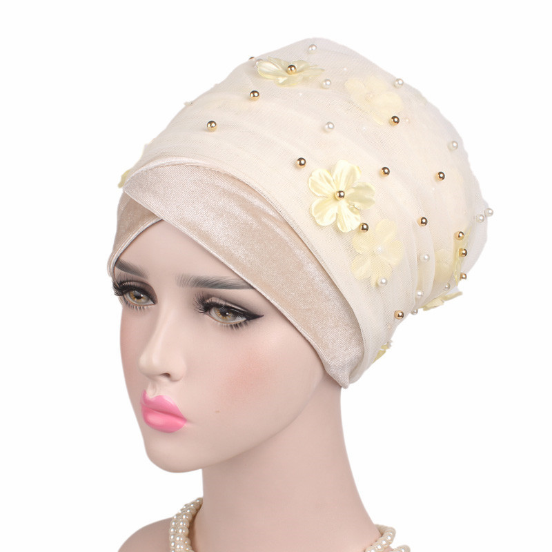 Image 4 - Helisopus Women New Beaded Mesh Flower Velvet Turban Women Hair  Accessories Fashion Wrapped Head Scarf Hijab Cap Muslim HatWomens Hair  Accessories