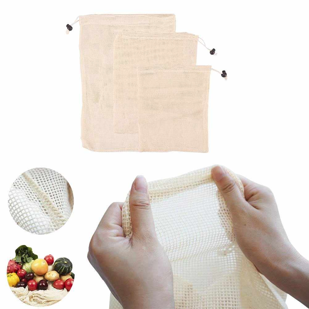6 pieces Reusable cotton vegetable bags, fruit and vegetable bags, breathable mesh bags