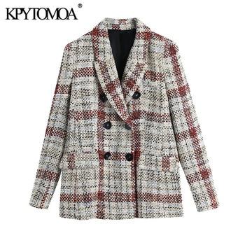 KPYTOMOA Women 2021 Fashion Double Breasted Check Tweed Blazer Coat Vintage Long Sleeve Pockets Female Outerwear Chic Tops
