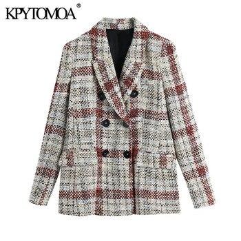KPYTOMOA kobiety 2021 moda podwójne piersi sprawdź tweedowy blezer płaszcz Vintage kieszenie z długim rękawem damska odzież wierzchnia eleganckie koszule