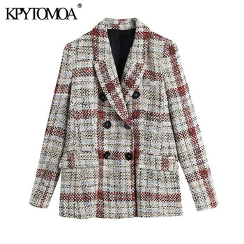 Kpytomoa Vrouwen 2021 Fashion Double Breasted Check Tweed Blazer Jas Vintage Lange Mouwen Zakken Vrouwelijke Bovenkleding Chic Tops
