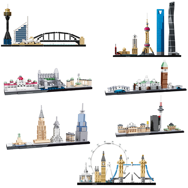 2019 Legoing City House Shanghai London Berlin Venice Street View Creator Urban Architecture Model Building Blocks Children Toys