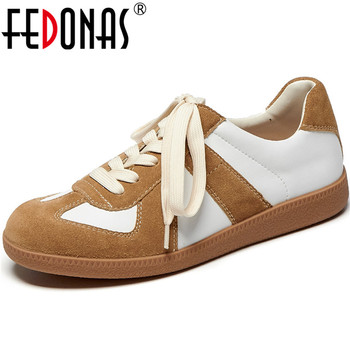 FEDONAS Cross Tied Genuine Leather Women Sneakers 2020 Summer Autumn Round Toe Platforms Flats Fashion Running Sport Shoes Woman