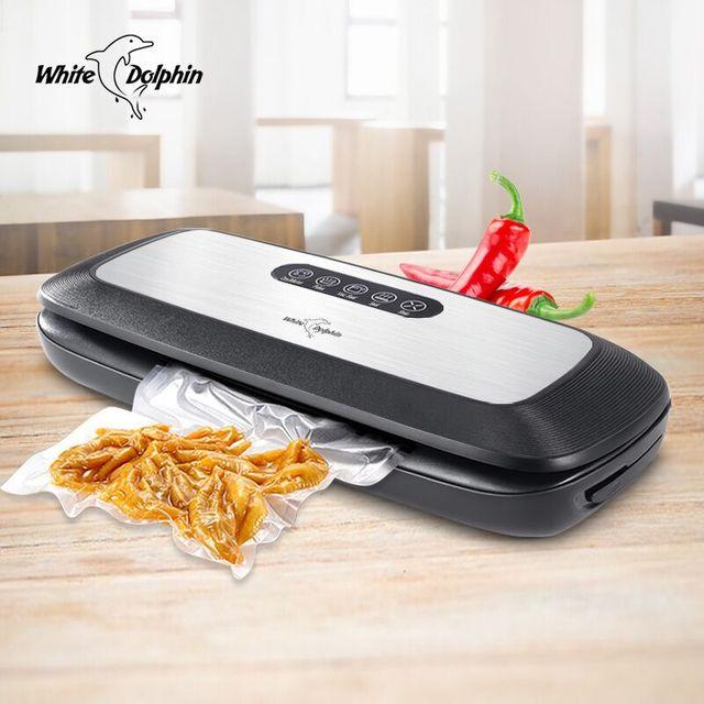 מטבח ואקום מזון אוטם עם 10PCS מזון חותם שקיות אוטומטי חשמלי מזון אוטם ואקום אריזה מכונת 220V 110V