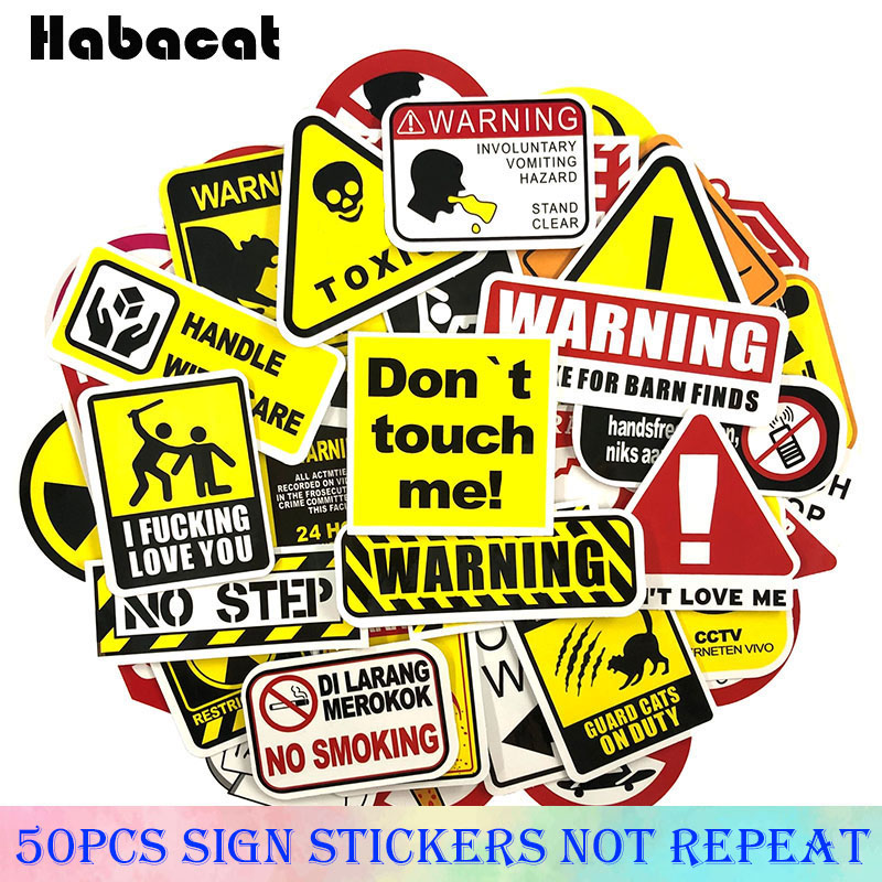 50 Pcs/Pack Road Sign Warning Stickers For Motorcycle Luggage Laptop Bicycle Fridge Skateboard  Anime Stickers Snowboard Phone