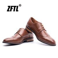 ZFTL New Men's dress shoes big size genuine leather man oxford shoes Carve male business Bullock shoes men formal shoes 0116