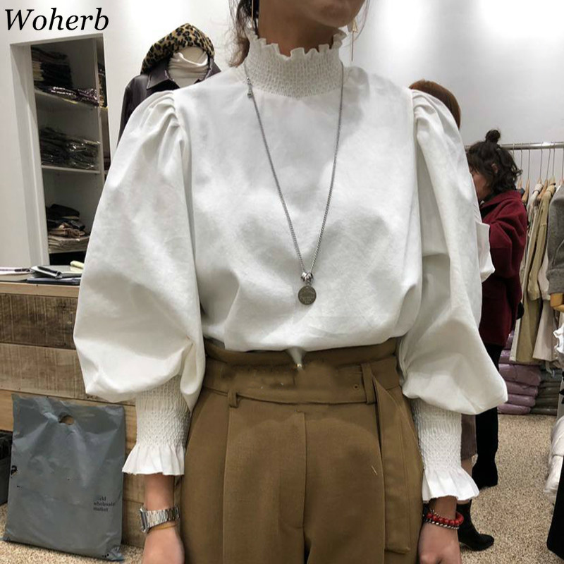 Woherb Turtleneck Puff Sleeve Blouse Solid Color Casual Loose Shirts Vintage Fashion Tops Women Korean New Blusas Mujer 91614