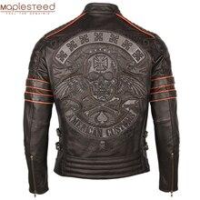 שחור רקמת גולגולת אופנוע מעילי עור 100% עור פרה טבעי Moto אופנוען מעיל עור מעיל חורף חם בגדי M219