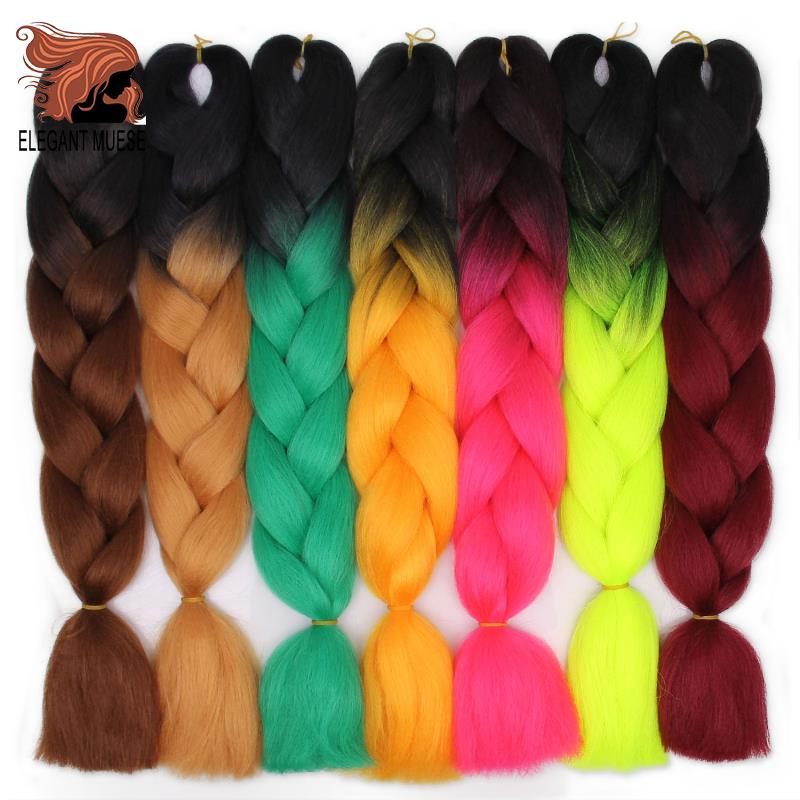 ELEGANT MUSES 6 Pcs 24 Inches 100g Jumbo Braids Hair Extensions Synthetic Hair For Crochet Black Soft Xpression Hair Extension