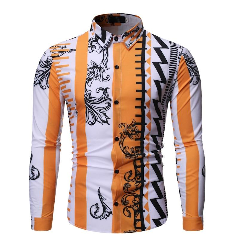 2019 Casual z długim rękawem Slim Fit koszula męska wiosna