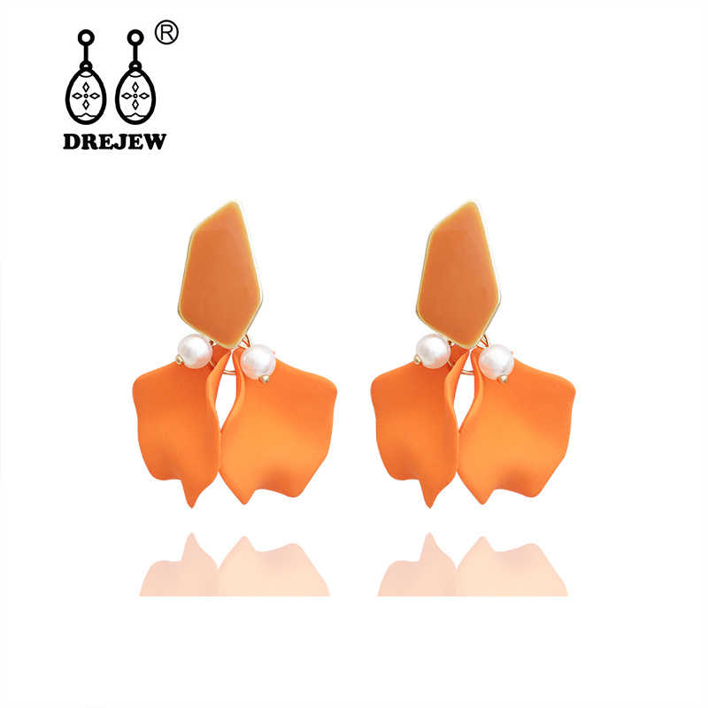 DREJEW Blue Pink Yellow Orange Elegant Flower Statement Earrings Christmas 925 Drop Earrings Sets for Women Wedding Jewelry 7911