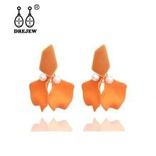 DREJEW Blue Pink Yellow Orange Elegant Flower Statement Earrings 2019 925 Drop Sets for Women Wedding Jewelry HE7911