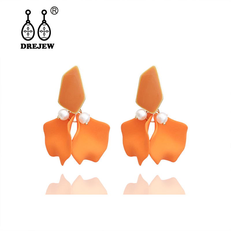 DREJEW Blue Pink Yellow Orange Elegant Flower Statement Earrings 2019 925 Drop Sets for Women Wedding Jewelry HE7911