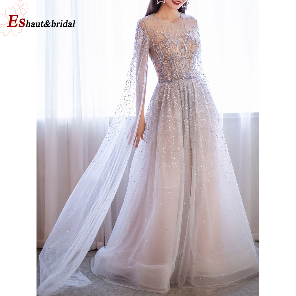 Elegant Evening Dress For Women 2020 Long Sleeves Dubai O Neck A-Line Luxury Crystal Handmade Tuttle Arabic Formal Party Gowns