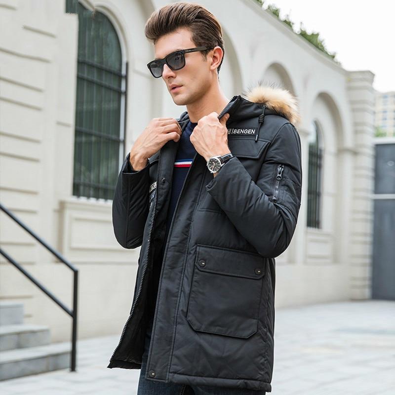Men's Down Jacket Long Coat Autumn Winter Jacket Men Hooded Fur Collar Parka Jackets Doudoune Homme J1601023F KJ873