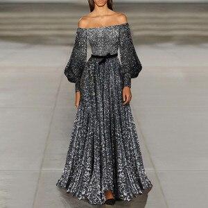 Maxi Dress Plus Size Sexy Elegent Dresses Splash-ink Style Sexy Backless Slash Neck Long Sleeves Loose Dress Women G3