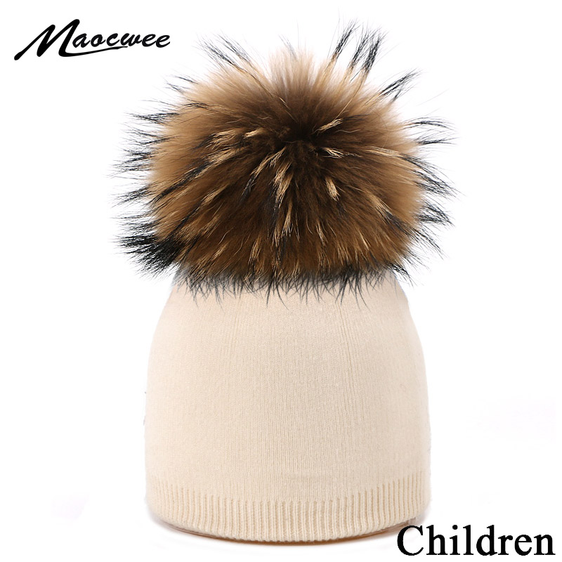 Winter Knitted   Beanie   Hat For Girls And Boys With Real Fur Pompon Children Outdoor Sport Soft Warm Thick   Skullies     Beanies   Hat