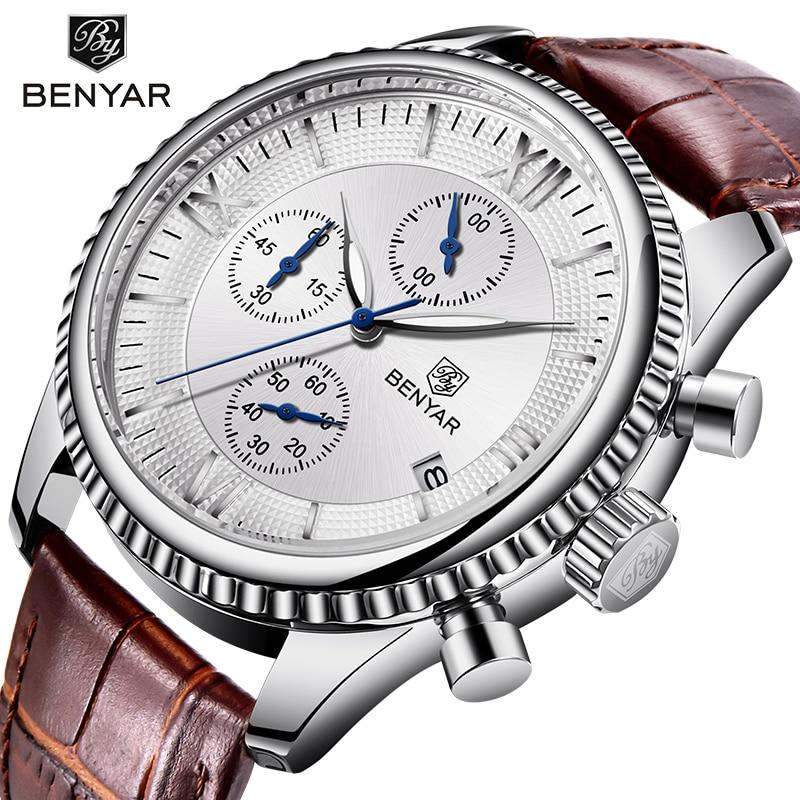 Men's watches top luxury brand BENYAR fashion leather mens wristwatches waterproof sport chronograph watch men Relogio Masculino