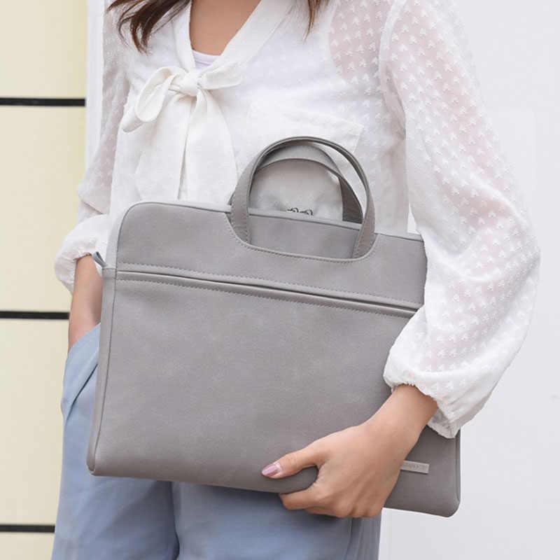 بولي Leather جلد النساء حقائب الكمبيوتر المحمول دفتر حقيبة حمل حقيبة لماك بوك اير 13.3 14 15.6 بوصة الرجال حقائب الكتف حقيبة الماوس