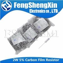 200pcs 2W 5% Resistor de Filme de Carbono 0.1R ~ 10M 2.2R 10R 22R 47R 51R 100R 150R 470R 47 10 1K 4.7K K K 1 2.2 10 22 47 51 100 150 470