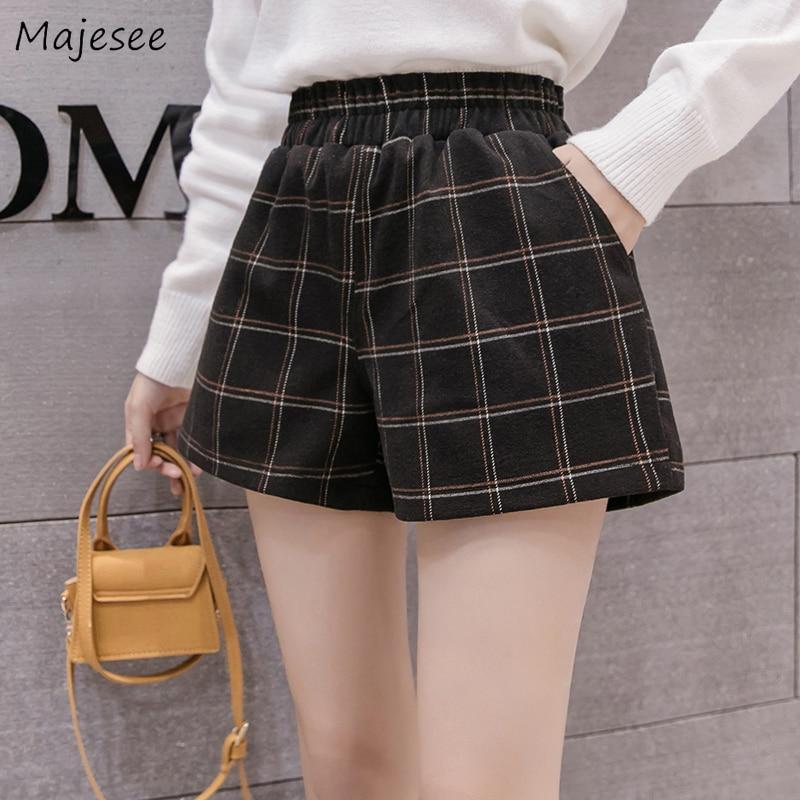 Shorts Women Plaid Plus Size Harajuku High Waist Short Womens Korean Fashion All Match Females Vintage Pocket Autumn Fashionable